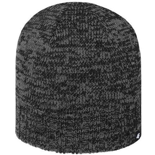 Męska ciepła czapka z polarem h4z18 cam008 20m czarny szary melanż s/m marki 4f