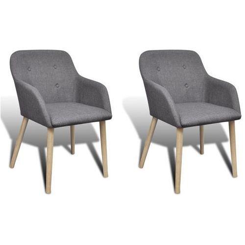 vidaXL Krzesła jadalniane z dębową ramą, 2 szt, materiał, ciemnoszare, kolor szary