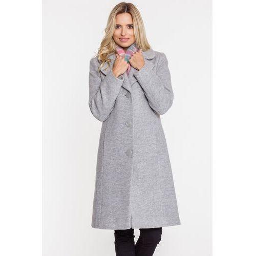 Klasyczny szary płaszcz zimowy z dużymi klapami - marki Metafora