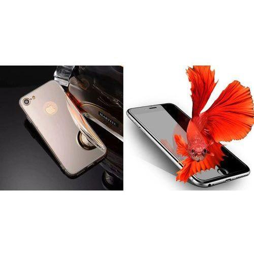 Zestaw   Slim Mirror Case Srebrny   Obudowa + Szkło ochronne Perfect Glass   Etui dla Apple iPhone 7, kolor szary
