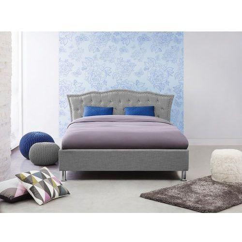 Łóżko szare - 140x200 cm - tapicerowane - ze stelażem - podwójne - METZ (7105279707155)