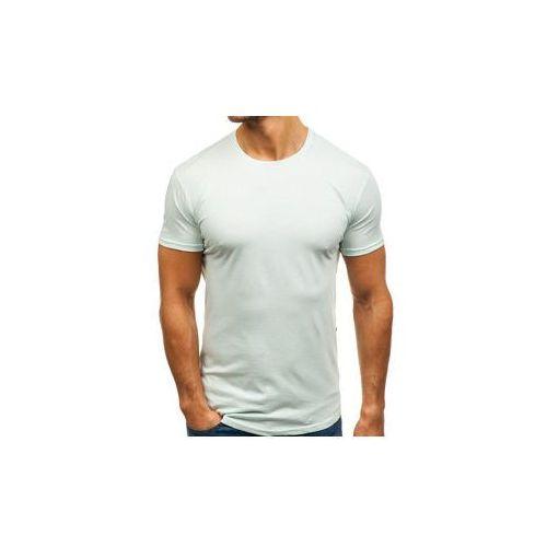 T-shirt męski bez nadruku miętowy denley 181227, Breezy