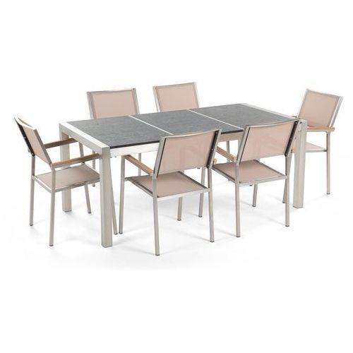 Beliani Zestaw ogrodowy stół granit palony dzielony blat czarny i 6 krzeseł beżowych grosseto (4260580937141)