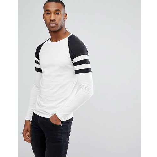 Only & Sons Raglan Long Sleeve T-Shirt With Contrast Stripe Sleeve Detail - White