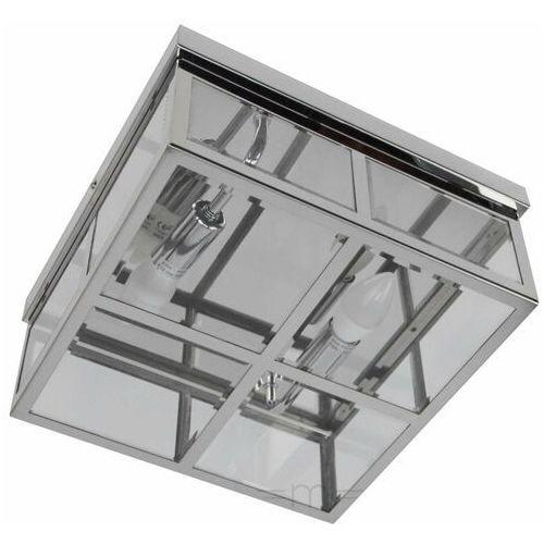 Plafon LAMPA sufitowa MONZA LP-2323/2C Light Prestige szklana OPRAWA kwadratowa chrom przezroczysta, kolor Srebrny