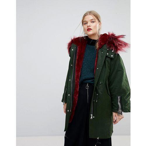 Mango Faux Fur Contrast Parka Jacket - Green
