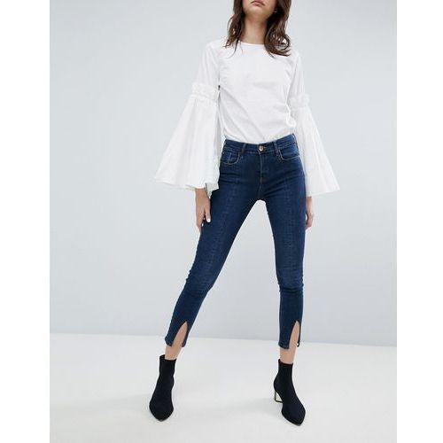 amelie split front skinny jeans - blue marki River island