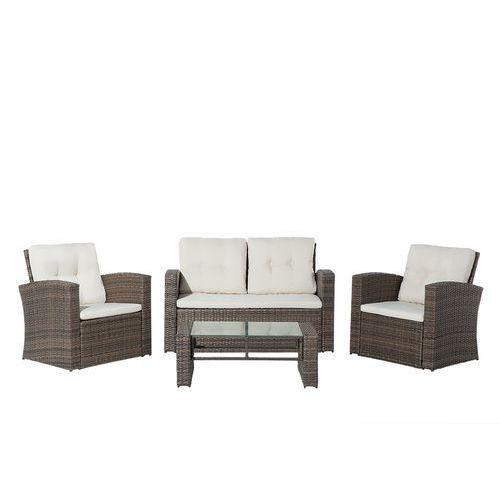 Meble ogrodowe - rattanowe - tarasowe - stół + sofa + 2 fotele - LUCA (4260580920402)
