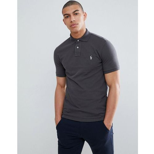 Polo Ralph Lauren Slim Fit Pique Polo With Player Logo in Washed Black - Black, kolor czarny