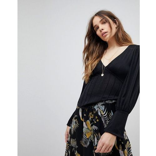 Free People Killer Deep V-Neck Top - Black