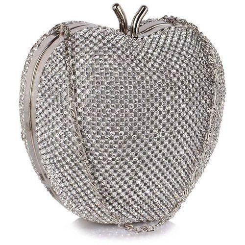 Zjawiskowa torebka wizytowa w kształcie jabłuszka srebrna - srebrny