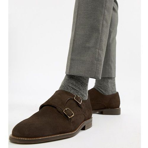 wide fit monk shoes in brown suede - brown, Dune