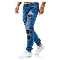 Spodnie jeansowe joggery męskie niebieskie Denley 0820, jeansy