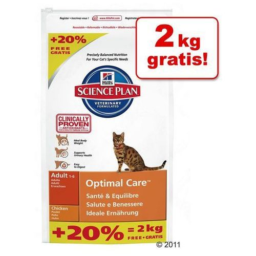 10 + 2 kg gratis! hill's feline sucha karma, 12 kg - adult, kurczak marki Hills