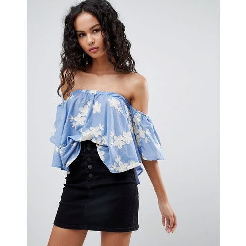 Qed london floral embroidered denim off shoulder top - blue
