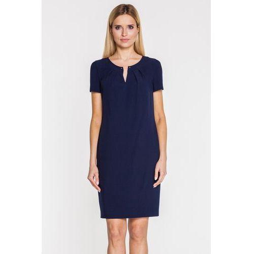 Granatowa sukienka z cienkim paskiem - marki Vito vergelis