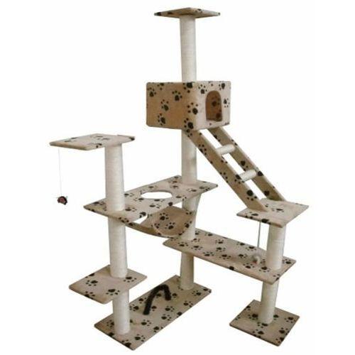 Vidaxl  drapak dla kota ekstra 184 cm, plusz, beż z nadrukiem (8718475865339)