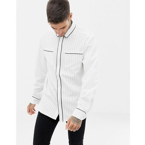 boohooMAN regular fit shirt with piping detail in white stripe - White