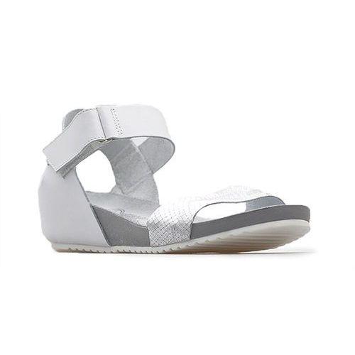 Sandały 40069 białe+moro srebro, Lemar