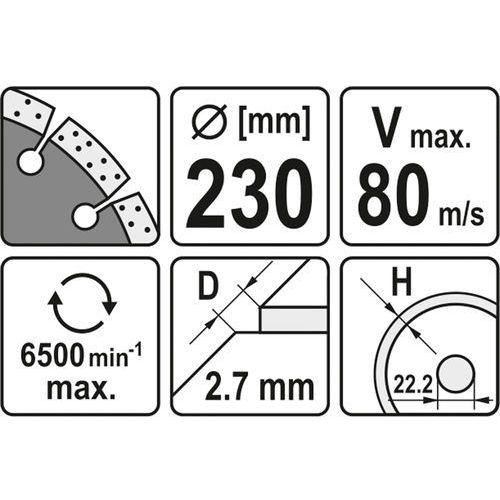Tarcza diamentowa, segmentowa 230 mm Yato YT-6005 - ZYSKAJ RABAT 30 ZŁ