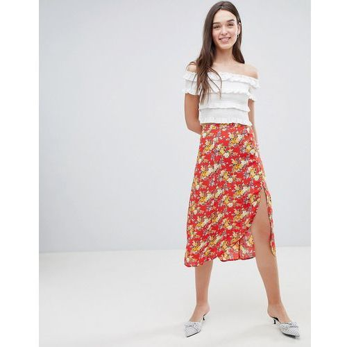 Miss selfridge floral side button midi skirt - multi