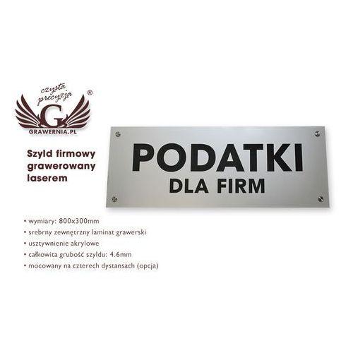 Grawernia.pl - grawerowanie i wycinanie laserem Szyld firmowy - srebrny zewnętrzny laminat grawerski - sz111 - wym. 800x300mm