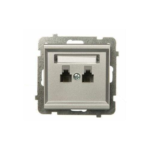Gniazdo telefoniczne podwójne równoległe p/t, srebrny mat GPT-2RR/m/38 OSPEL SONATA (5907577447540)
