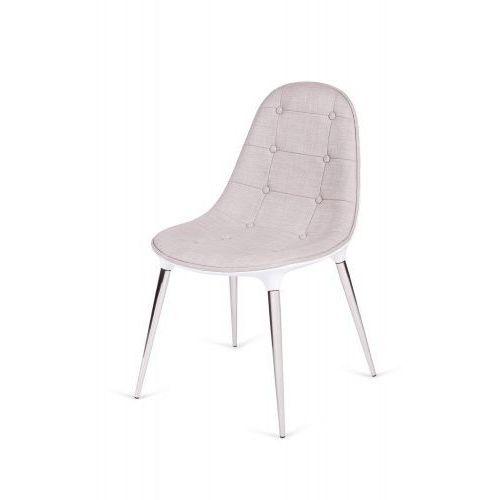 Krzesło PASSION tkanina beżowo-białe - włókno szklane, nogi chromowane, kolor biały