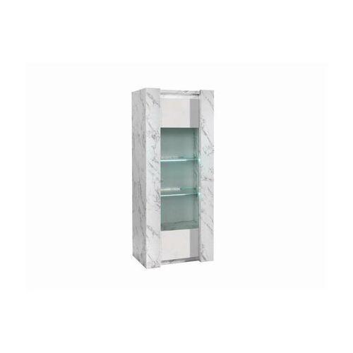 Witryna saban – 1-drzwiowa – oświetlenie led – kolor biały lakierowany i motyw marmuru marki Vente-unique.pl
