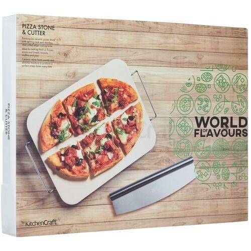 Kamień do pizzy z prostokątnym nożem i uchwytem kitchen craft (wfitpizstonerec)