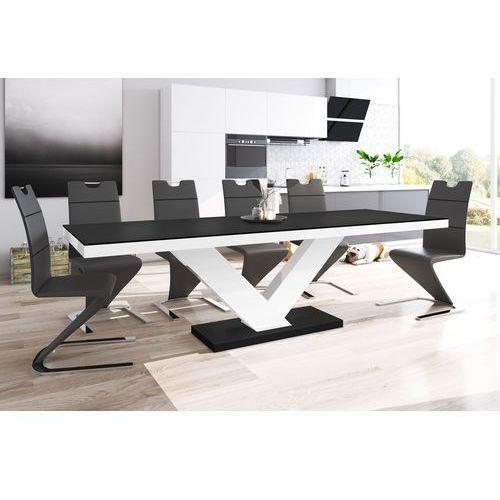 Hubertus design Stół rozkładany victoria czarno-biały wysoki połysk