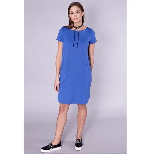 Niebieska sukienka z dekoltem na plecach - Click Fashion, 1 rozmiar