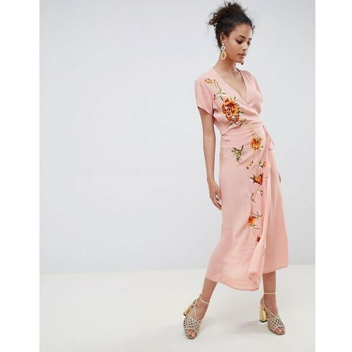 Miss Selfridge maxi dress with embroidery and cap sleeve - Pink, kolor różowy
