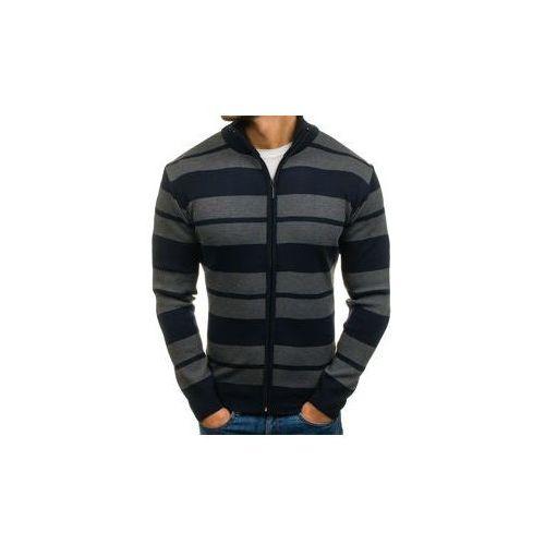 Sweter męski rozpinany granatowo-grafitowy Denley BM6065, rozpinany