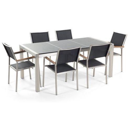 Beliani Stół granitowy szary polerowany 180 cm z 6 czarnymi krzesłami - grosseto