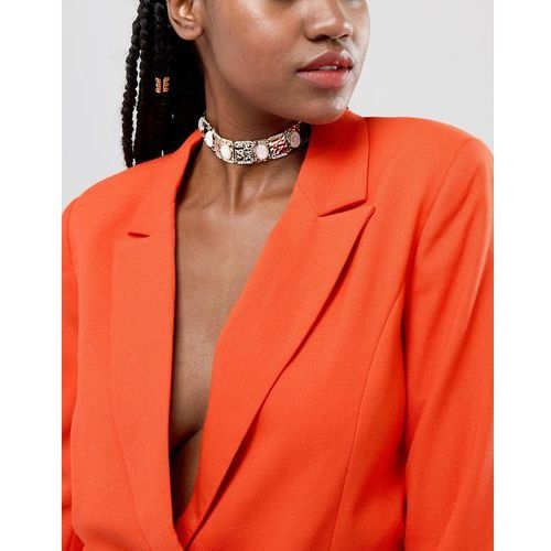 River island necklace in all over embellished - gold
