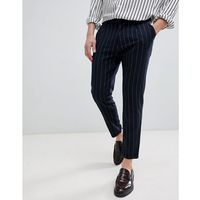 Pull&Bear Striped Tailored Trousers In Navy - Navy