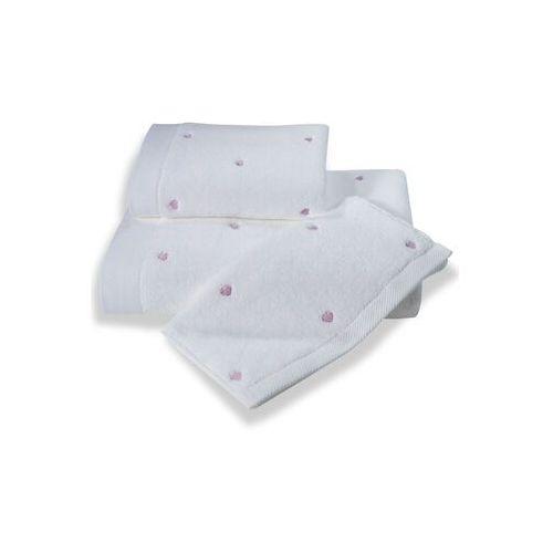 Soft cotton Zestaw podarunkowy małych ręczników micro love, 3 szt biały / liliowe serduszka