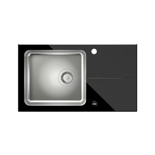 Steiner Zlewozmywak hugh 111 st3577sc1bs-bw7059czp (blat szklany) czarny + bateria naomi (5903242533907)