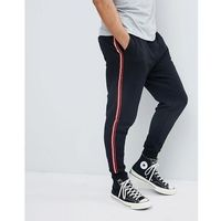 Pull&Bear Joggers With Side Stripe In Black - Black