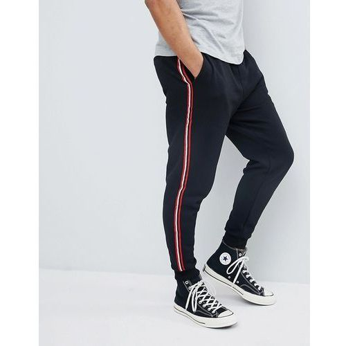 Pull&Bear Joggers With Side Stripe In Black - Black, kolor czarny
