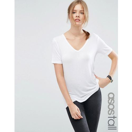 the new forever t-shirt with short sleeves and dip back - white, Asos tall