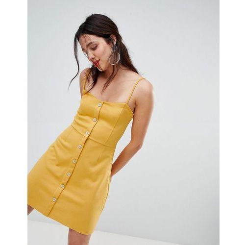 button front a line dress - yellow marki Stradivarius