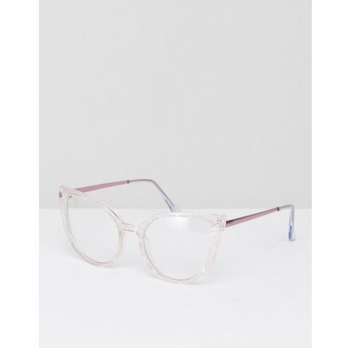 cat eye clear lens acetate frame geeky glasses with rose gold arm - gold marki Asos