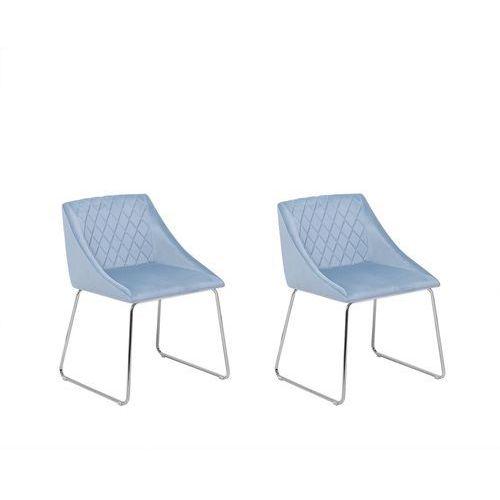 Zestaw do jadalni 2 krzesła welwet niebieskie arcata marki Beliani