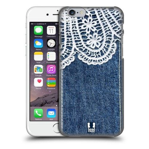 Etui plastikowe na telefon - jeans and laces white lace over blue denim wyprodukowany przez Head case