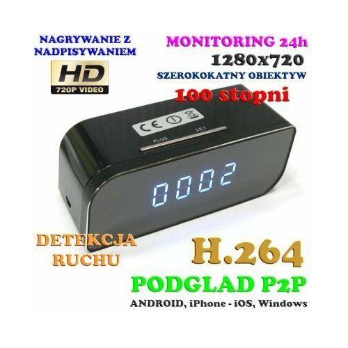 Kamera HD WiFi/P2P (Zasięg Cały Świat!) Ukryta w Zegarku Biurkowym + Zapis + Detekcja Ruchu..., 590777341499