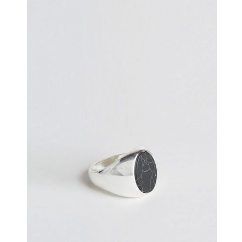 Chained & Able Oval Stone Ring In Black - Silver, kolor czarny