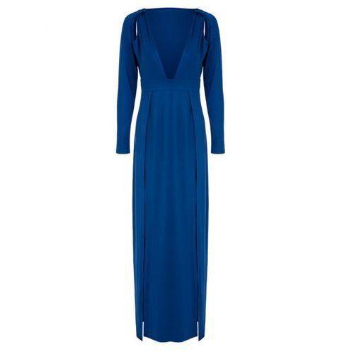 Elegant Plunge Neck High Slit Long Sleeve Slimming Women's Maxi Dress, kolor niebieski