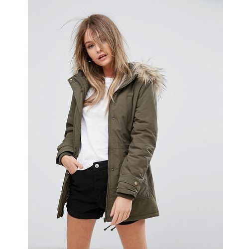 faux fur hooded short parka - green, New look